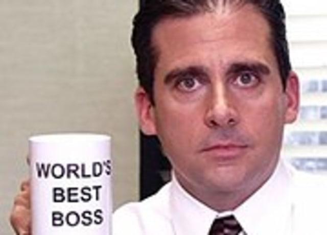 """A caneca """"Melhor chefe do mundo"""" do Michael"""