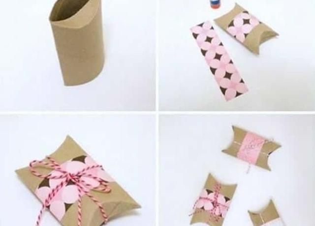 Caixinha feita com rolo de papel higiênico