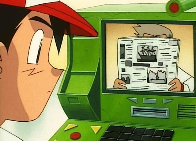 Ash na frente de uma máquina que parece um caixa eletrônico, que realiza transmissões de vídeo.