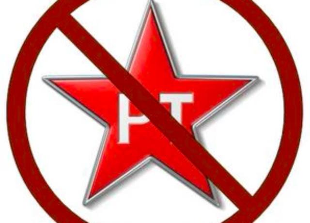 Símbolo do PT com um sinal de proibido