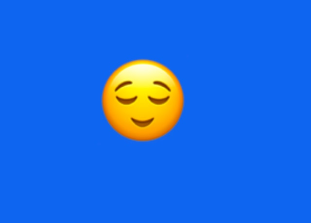 An emoji with a slight smile and its eyes closed