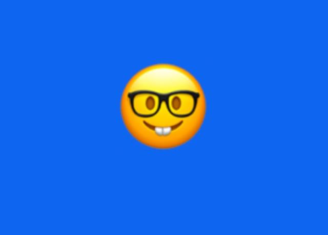 An emoji with glasses and buck teeth