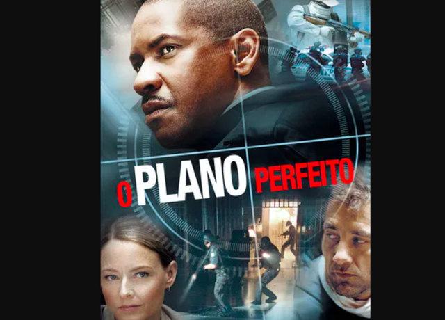 Poster de O Plano Perfeito, com Denzel Washington, Clive Owen e Jodie Foster.