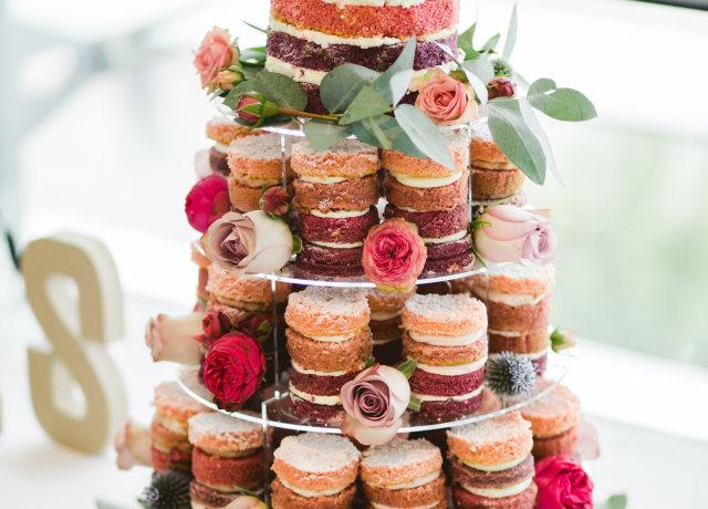 multi-tier floral mousse cake