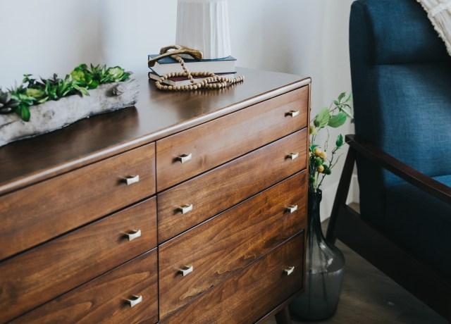 brown wooden lowboy dresser