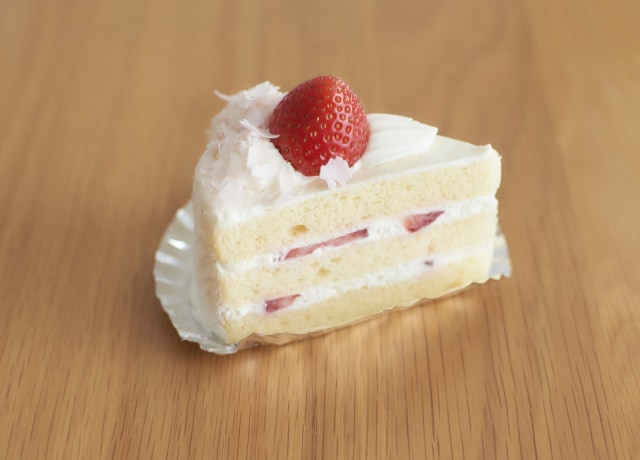 white and red strawberry cake