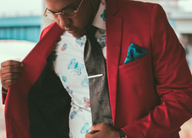 man in red blazer and white dress shirt