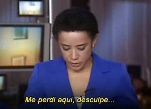 """Zileide Silva na bancada do Jornal Hoje com a legenda """"me perdi aqui, desculpe..."""""""