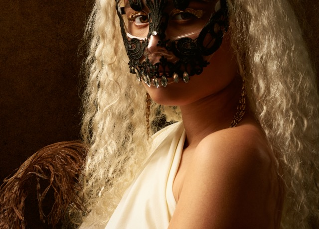 woman with white and black face paint