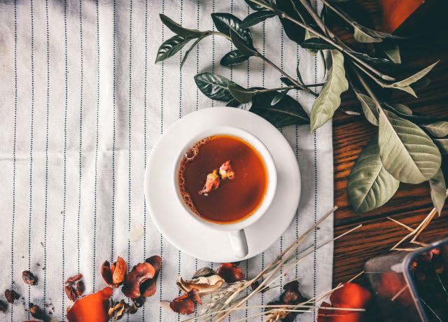 tea serve on white teacup
