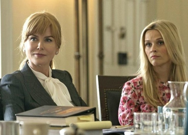 Celeste and Madeline from Big Little Lies sitting at a table