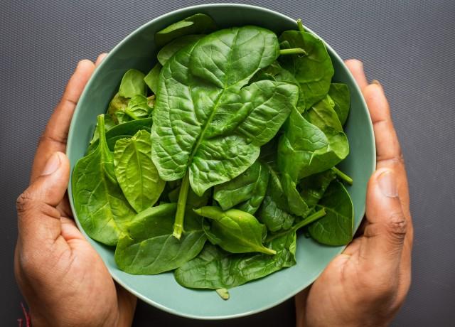green leaves on blue plastic bowl