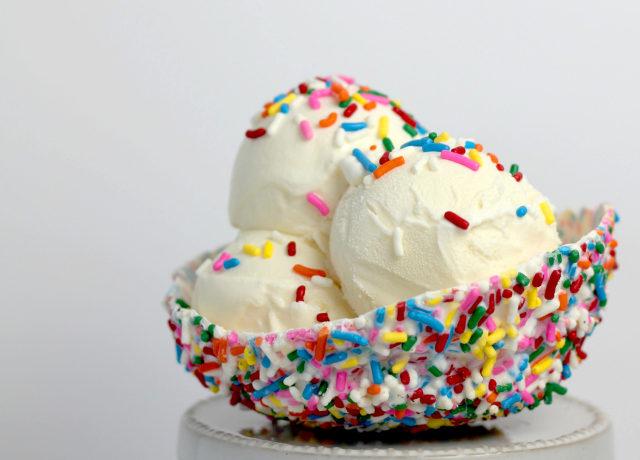 vanilla ice cream with sprinkles