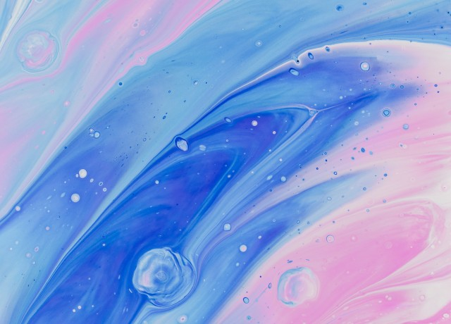 blue and pin abstract painting