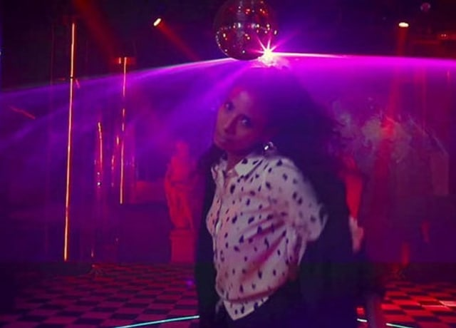 Hajiba Fahmy from the Soul Control music video, dancing in a disco