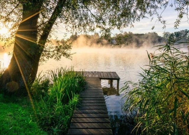 A sunny dock on a big lake
