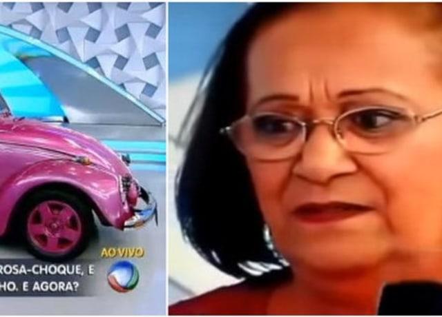 Senhora com cara de desapontada olhando para um Fusca rosa
