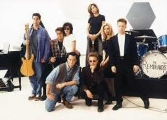 The Rembrandts and the cast of Friends posing
