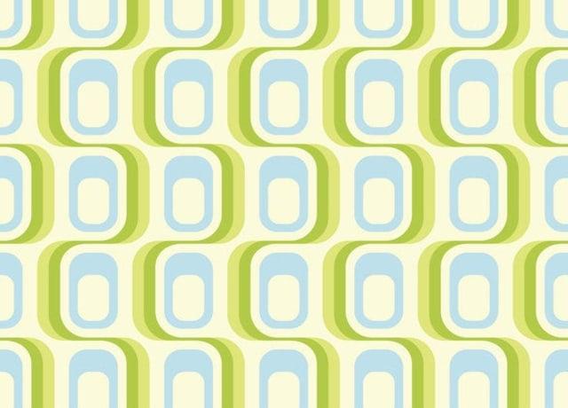 Papel de parede verde e azul com estampa ondulada
