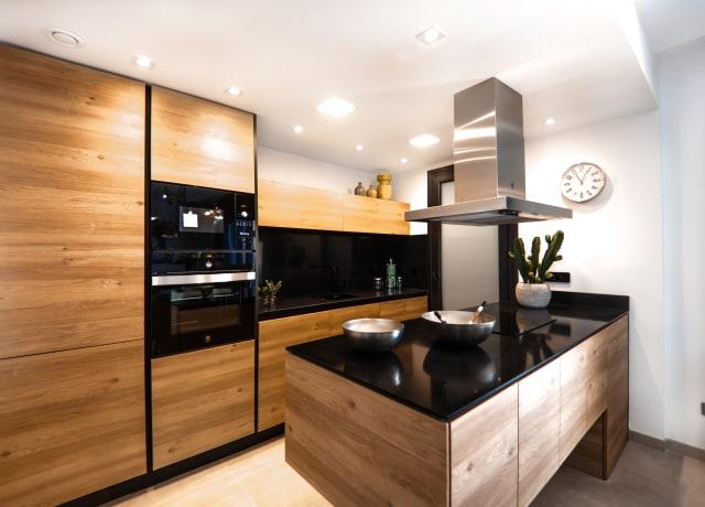 brown wooden kitchen cabinet