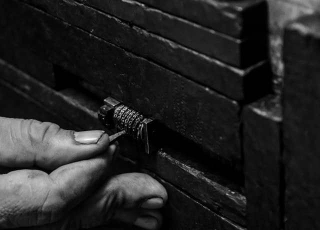 person picking lock