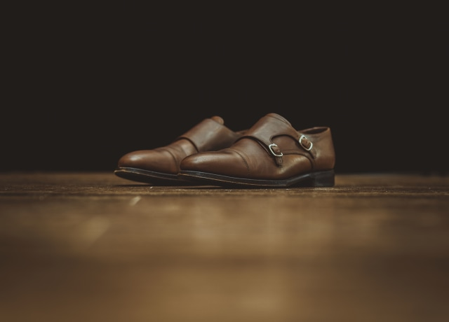 pair of men's brown leather loafers