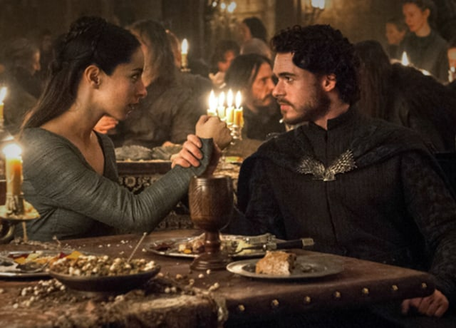 Robb Stark holding Talisa's hand from Game of Thrones