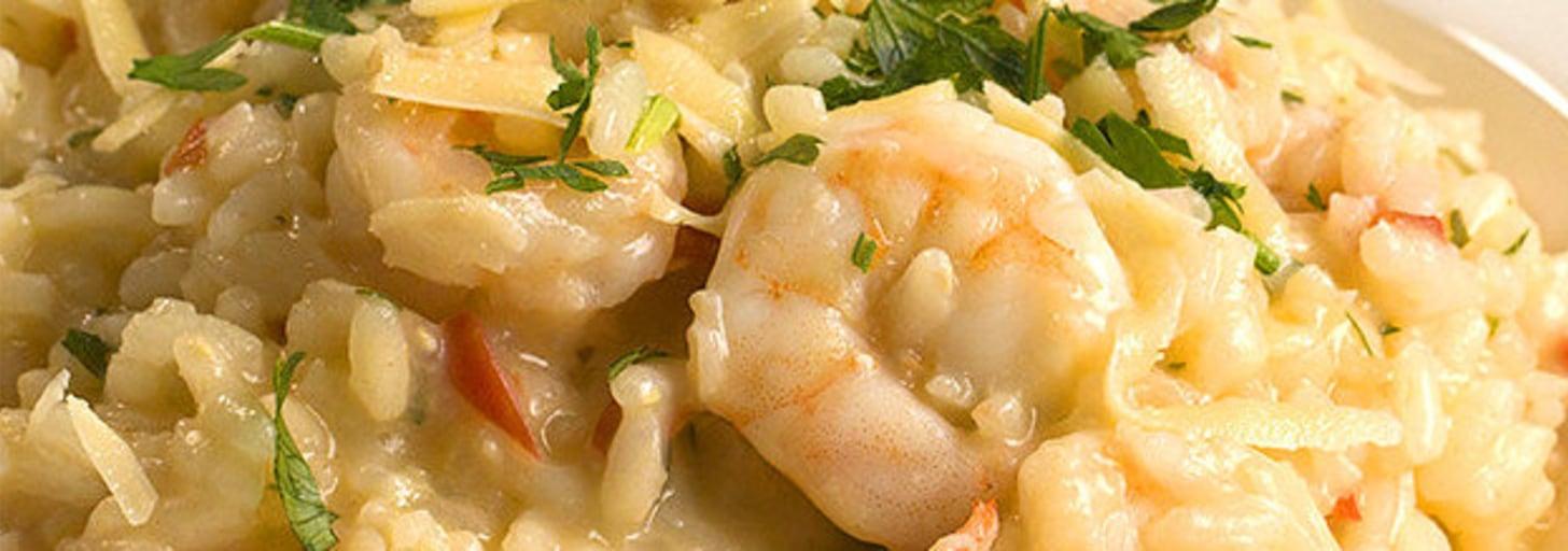 Descubra que o mundo é maravilhoso com este risoto de camarão cremoso