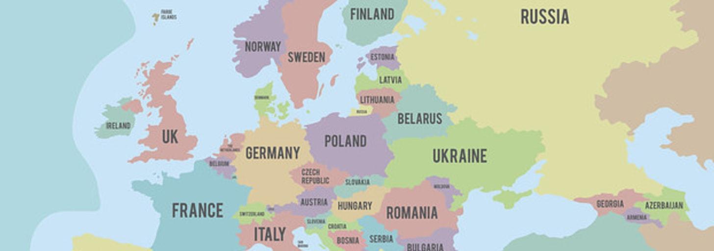 Existem 50 países na Europa e vou ficar feliz se você conhecer pelo menos 10 capitais