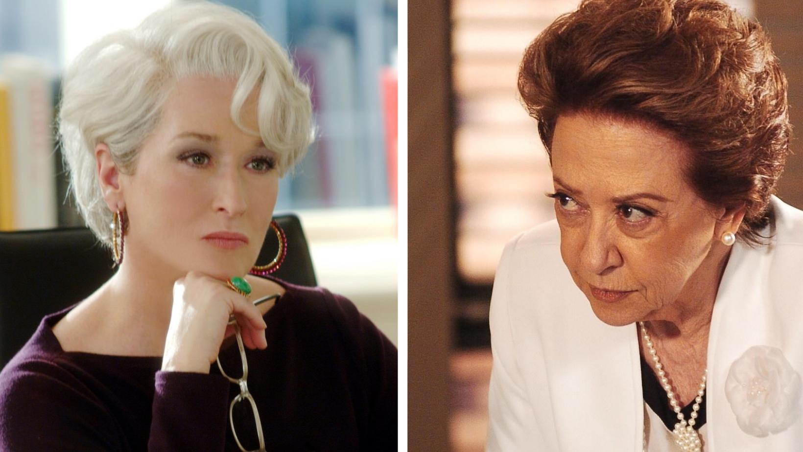 As personagens miranda priestly e Bia Falcão, interpretadas respectivamente por Streep e Montenegro