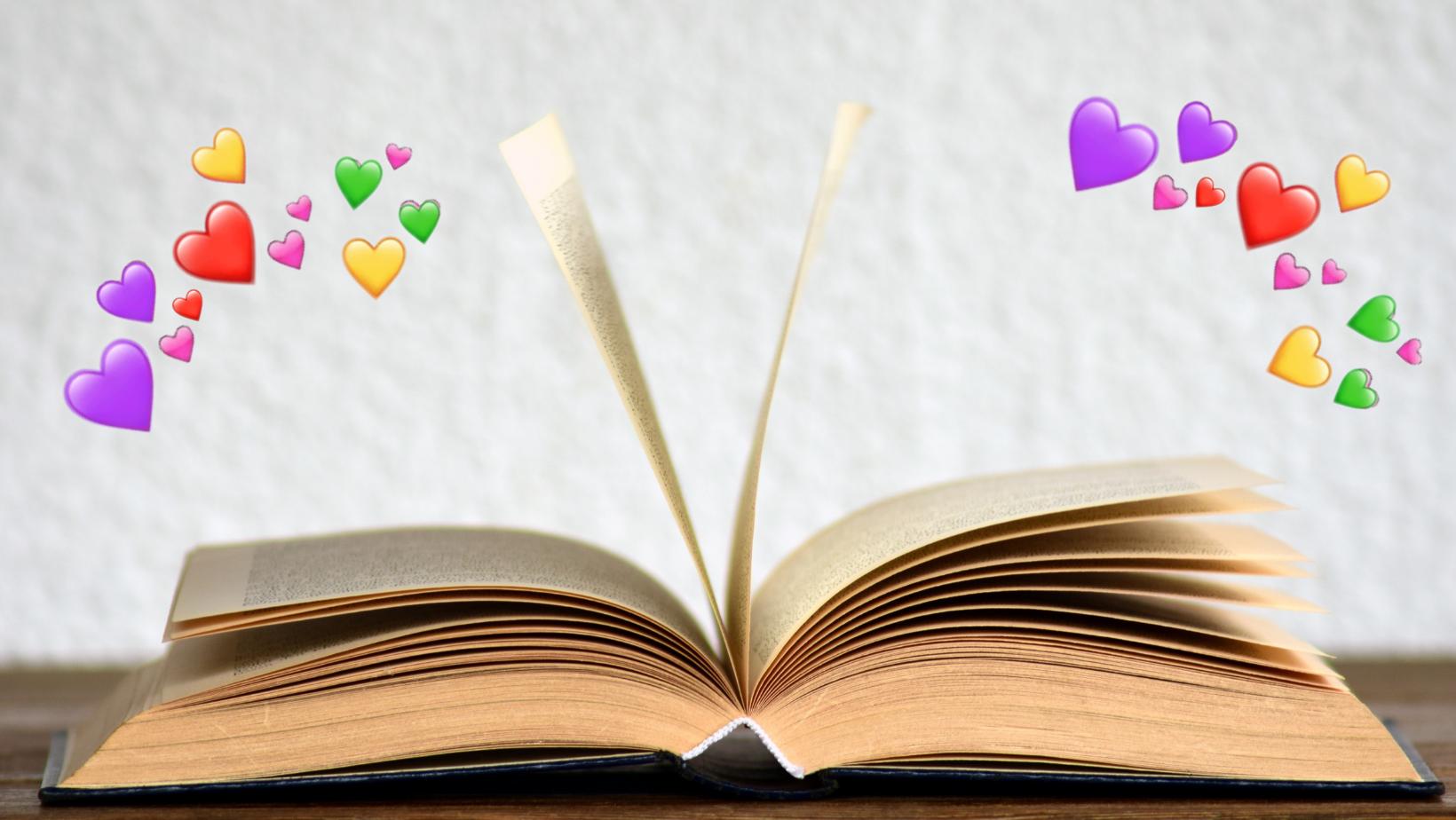 Livro com corações saindo