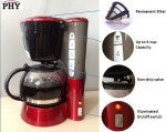 #9 rated for []: [Buy It Now] PHY 4-Cup/0.6L Switch Espresso Coffee Maker / Coffeemaker with Glass Carafe & Permanent Filter & Semi Transparent Water Tank, Red