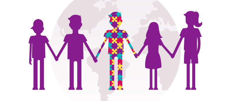 Cartoon people holding hands autism awareness
