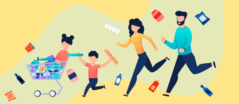 ADHD child running cartoon, parents chasing