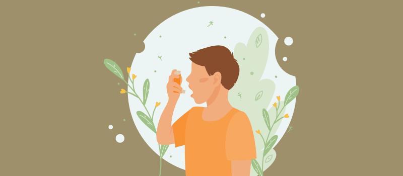 cartoon boy taking puff from inhaler