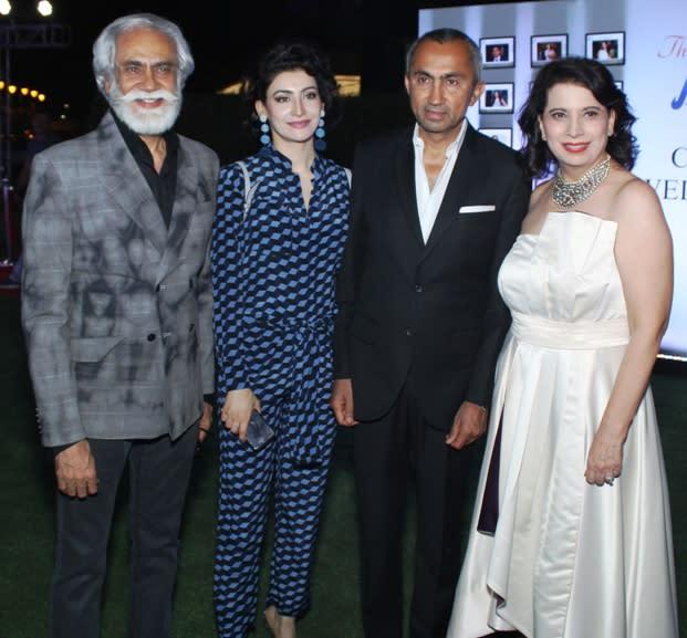Sunil Sethi , President FDCI, Entrepreneur Shalini Passi, Sanjay Passi and Parineeta Sethi at The Fit & Fab Event