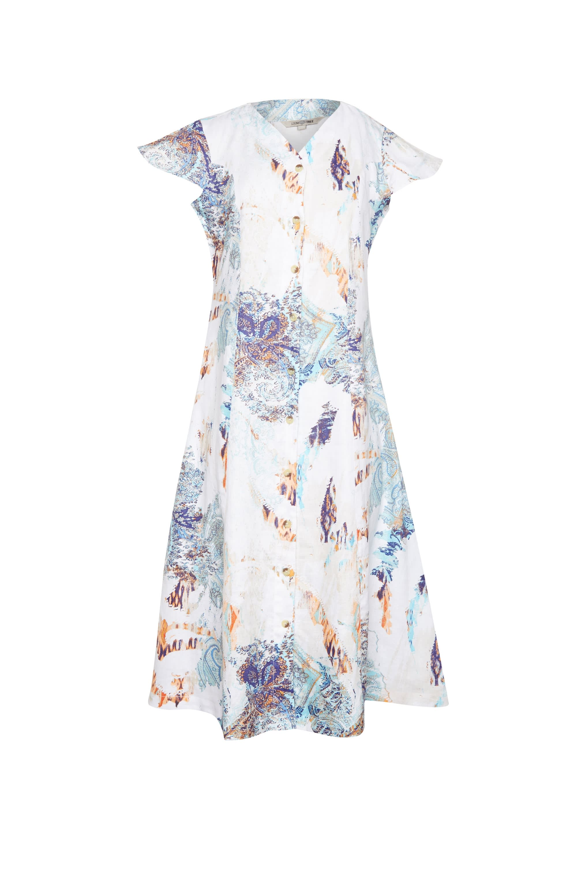 Loom Tree_Button Down Printed Linen  Dress_MRP Rs. 3,299