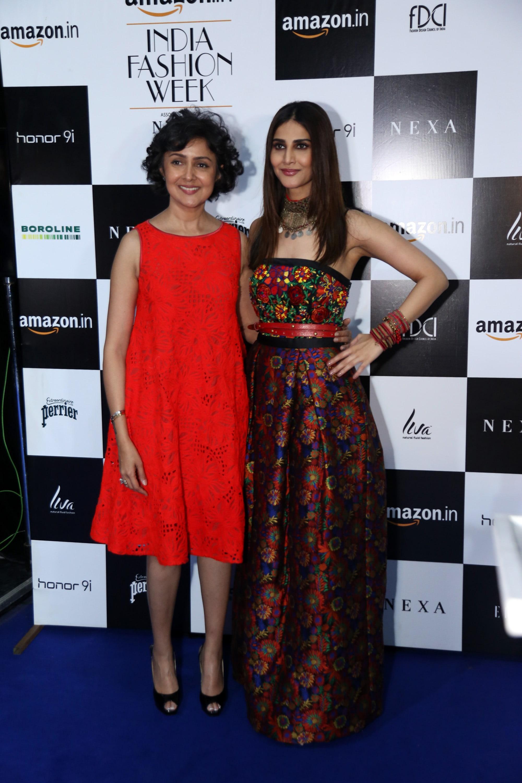 Designer Payal Jain with Actress Vaani Kapoor at Amazon India Fashion Week SS'18