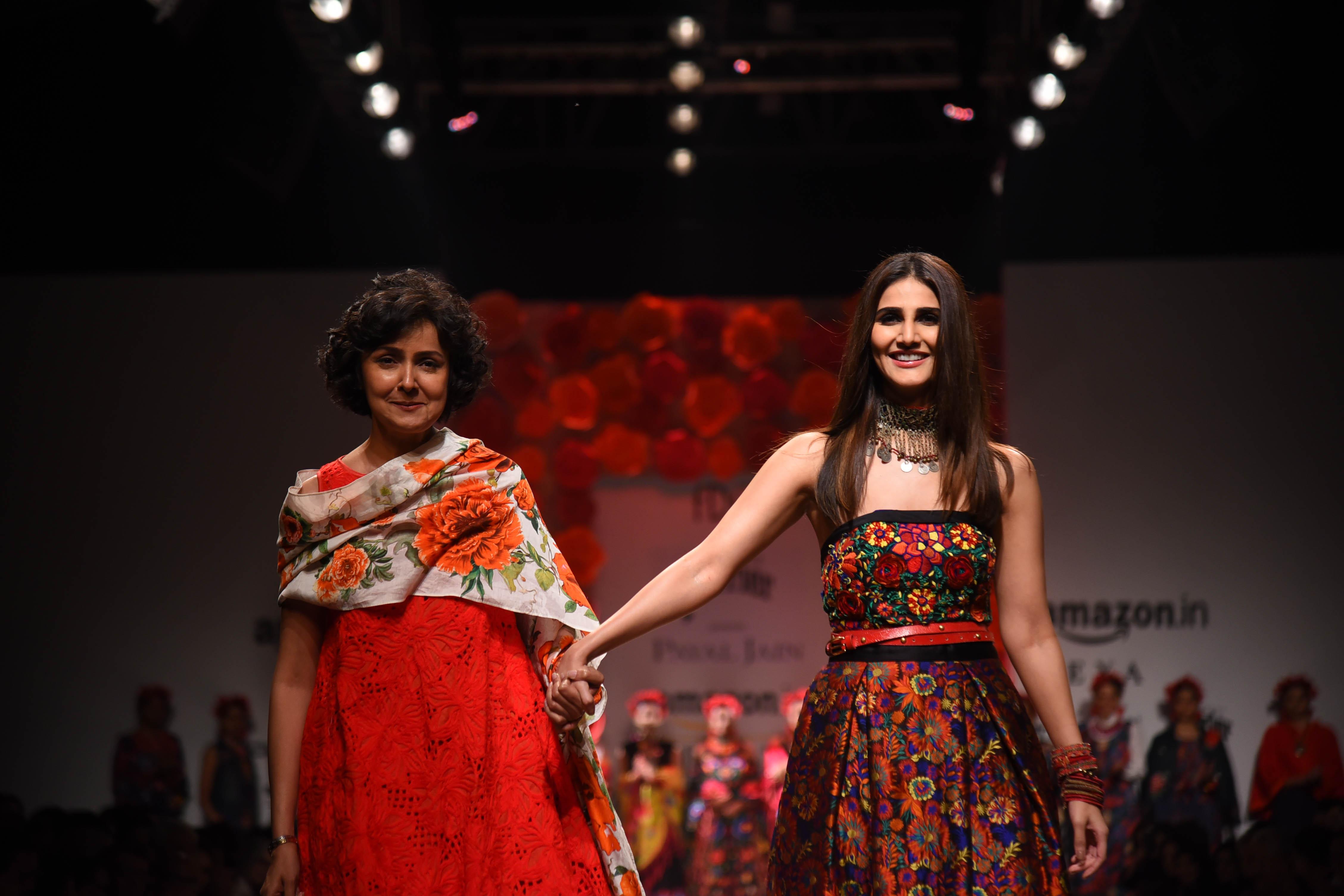 Designer Payal Jain with Actor Vaani Kapoor at Amazon India Fashion Week SS'18