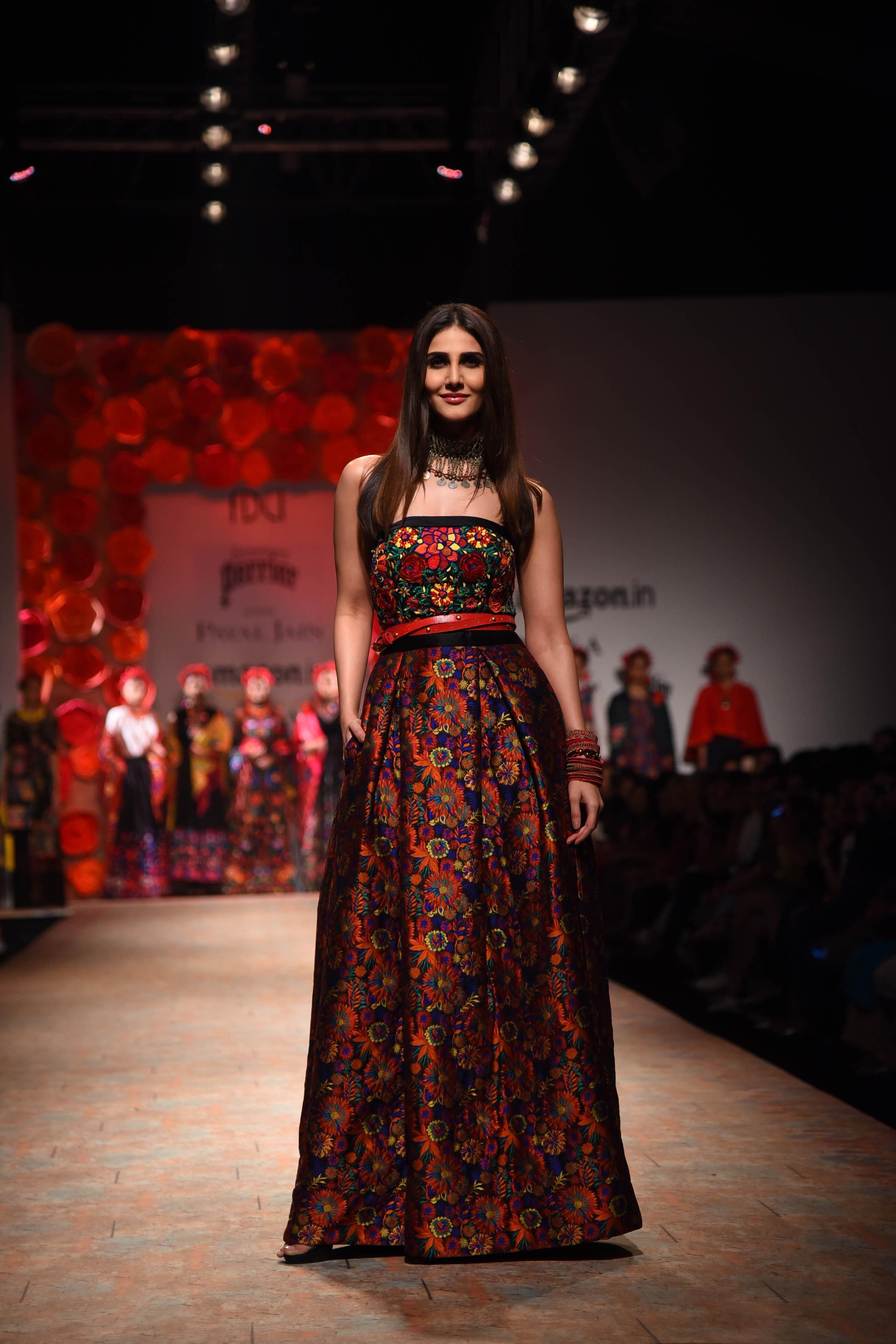 Actor Vaani Kapoor showcasing Designer Payal Jain Collection at Amazon India Fashion Week SS'18