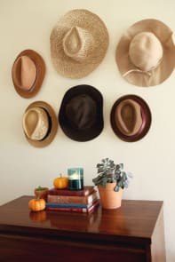 Wall with hats for decor