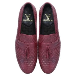 burgundy-wine-two-tone-full-weaved-leather-with-stylish-tassel-slip-on-shoes-by-bareskin