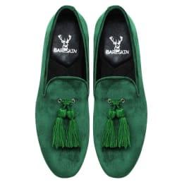 green-dual-shade-velvet-slip-on-shoes-with-stylish-tassel-by-bareskin