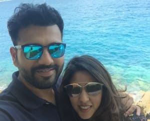 Rohit Sharma and his wife, Ritika Sajdeh posing for a selfie at Larvotto Beach (1)