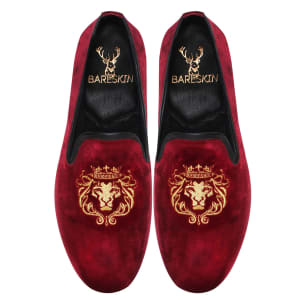 bareskin-mens-handmade-lion-king-embroidery-red-velvet-leather-slip-on-shoes