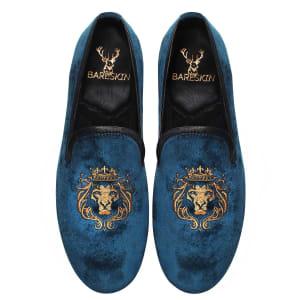bareskin-golden-lion-king-embroidery-blue-velvet-slip-on