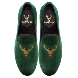 bareskin-green-velvet-slip-on-shoes-with-special-deer-head-design-embroidery