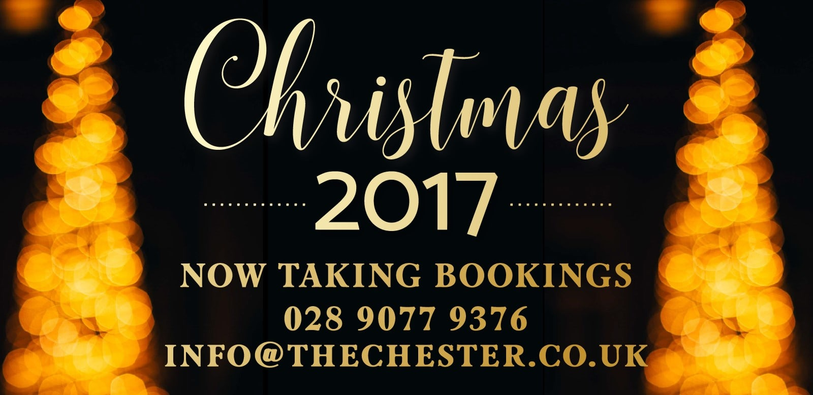 Book now for Christmas 2017 at the Chester