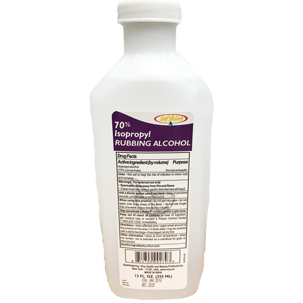 SoftSkin Rubbing Alcohol 24 Pack 12Oz Isopropyl 70% Clear
