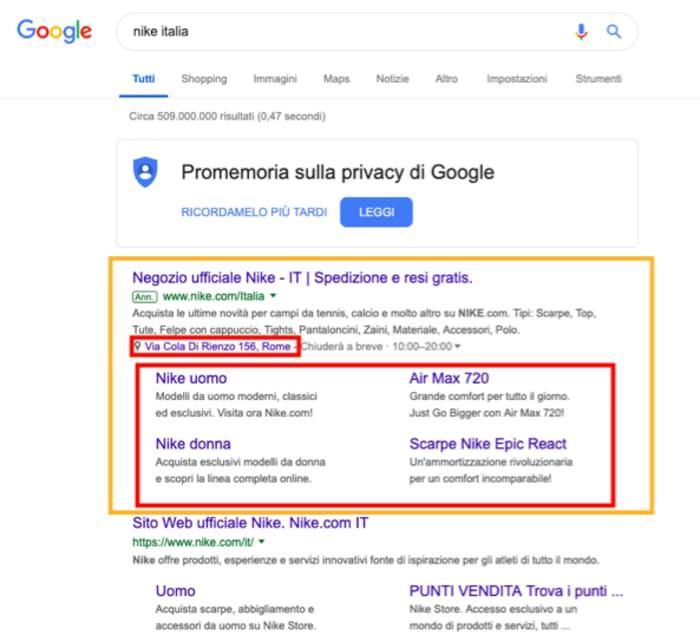Ricerca su Google per negozio di mobili